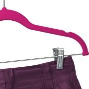 Pink velvet hanger with clips 2